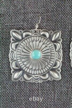 Navajo Turquoise & Sterling Silver Earrings Harold Joe