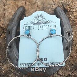 Navajo Turquoise & Sterling Silver Hoop Earrings