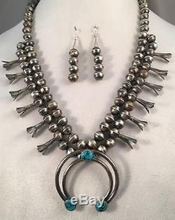 Navajo Turquoise/Sterling Silver Squash Blossom Necklace and Earrings