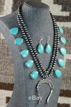 Navajo Turquoise & Sterling Silver Squash Blossom and Earrings Tom Lewis
