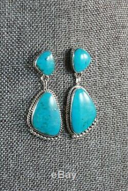 Navajo Turquoise and Sterling Silver Earrings Sadie Jim