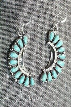 Navajo Turquoise and Sterling Silver Earrings Zeita Begay