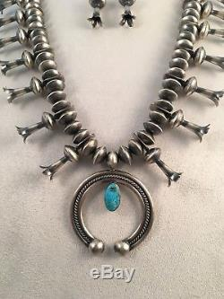 Navajo Turquoise and Sterling Silver Squash Blossom Necklace and Earrings