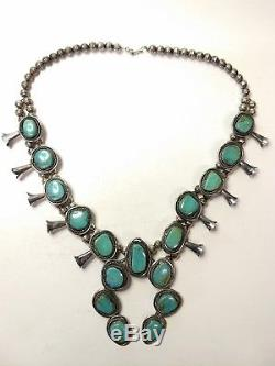 Navajo / Zuni Vintage Turquoise Sterling Squash Blossom Necklace 25 + Earrings