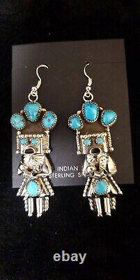 Navajo handmade sterling silver Turquoise kachina Earrings Doris Smallcanyon