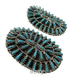 Navajo stabilize Turquoise Cluster Sterling Silver Post Earrings Violet Begay