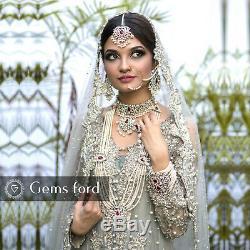 New Full Handmade Bridal Mala Jewellery Set Indian Pakistani Necklace Earrings