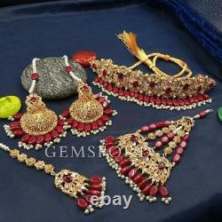 New Indian Pakistani Bengali Bridal Jewellery Choker Earrings Tikka Jhummar Set