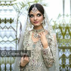 New Indian Pakistani Bollywood Full Bridal Mala Choker Earrings Tikka Jewellery