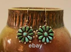 Nice Old Native American Zuni Sterling Silver Turquoise Petit Point Earrings