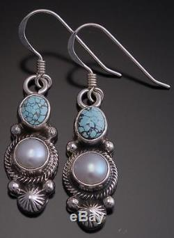No. 8 Spiderweb Turquoise and Pearl Earrings by Erick Begay EF32G