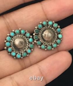 OLD PAWN Navajo Sterling Silver Snake Eyes Turquoise Earrings Signed MLD