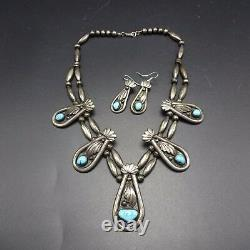 OLD PAWN Vintage NAVAJO Sterling Silver & TURQUOISE Necklace & Earrings SET