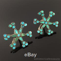 OLD ZUNI HANDMADE STERLING SILVER & FLUSH SET TURQUOISE INLAY EARRINGS by DISHTA