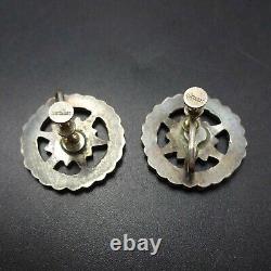 Old DISHTA ZUNI Sterling Silver TURQUOISE Flat Flush Inlay EARRINGS Screw Back