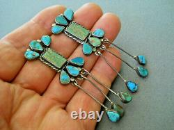 Old Native American Green & Blue Turquoise Stones Sterling Silver Earrings 3