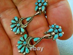 Old Native American MultiColor Turquoise Cluster Sterling Screw Back Earrings