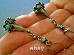 Old Native American Turquoise Cluster Sterling Silver Bell Shaped Hook Earrings