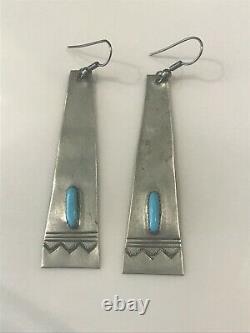 Old Pawn 1950's Navajo Kingman Turquoise Long Dangle Sterling Silver Earrings