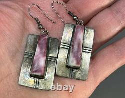 Old Pawn Native Navajo Spiny Oyster Shell Sterling Silver Earrings Signed LS