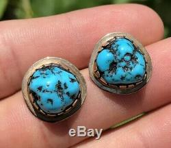 Old Pawn Navajo 14k Yellow Gold & Sleeping Beauty Turquoise Post Earrings