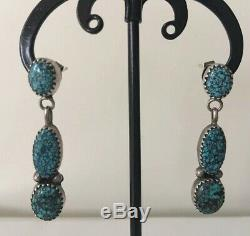Old Pawn Navajo Signed D. Ashley Spiderweb Turquoise Sterling Silver Earrings