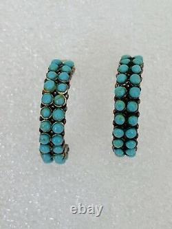 Old Pawn Navajo Sterling Silver Blue Turquoise Hoop Earrings