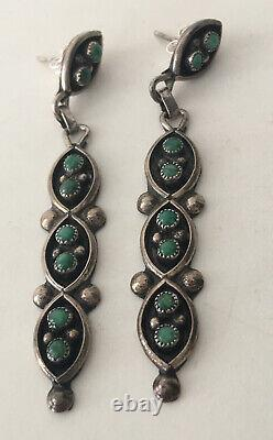 Old Pawn Navajo Sterling Silver Petit Point Snake Eyes Turquoise Dangle Earrings