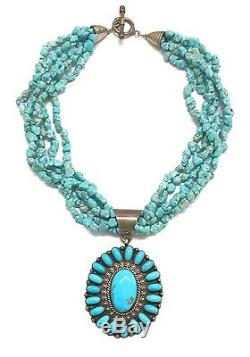 Old Pawn Navajo Sterling Silver Sleeping Beauty Turquoise Necklace NB