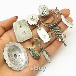 Old Pawn Southwestern Sterling Silver Mixed Lot Of 7 SINGLE Tribal Earrings