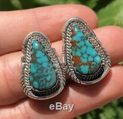 Old Pawn Sterling Silver Navajo Spiderweb #8 Turquoise Mountain Post Earrings