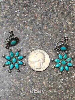 Old Pawn Vintage Navaho Sterling Snake Eye Turquoise Earrings