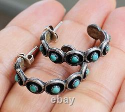 Old Pawn Zuni Native American Sterling Silver Turquoise Snake Eyes Hoop Earrings