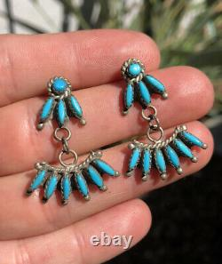 Old Pawn Zuni Petite Needlepoint Turquoise Sterling Silver Drop Dangle Earrings