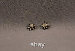 Old Pawn Zuni Silver And Needle Point Turquoise Earrings