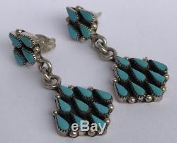 Old Pawn Zuni Sterling Silver Rain Drop Petit Point Turquoise Dangle Earrings