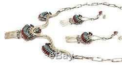 Old Pawn Zuni Sterling Silver Turquoise And Coral Needlepoint Bracelet Earrings