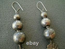 Old Southwestern Native American Sterling Silver Bead Earrings with Kachina Dangle