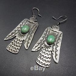 Old Style NAVAJO Hand Stamped Sterling Silver THUNDERBIRD & TURQUOISE EARRINGS
