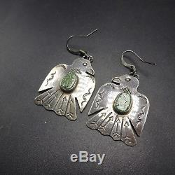 Old Style NAVAJO Hand Stamped Sterling Silver & TURQUOISE Thunder Bird EARRINGS
