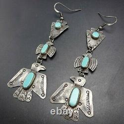 Old Style NAVAJO Sterling Silver TURQUOISE EARRINGS Thunderbird Arrowhead DANGLE