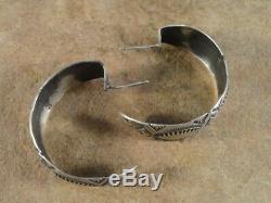Old Style Navajo Sterling Silver Stamped Hoop Earrings