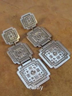 Old Style Navajo Sterling Silver Stamped Santa Fe Cross Earring