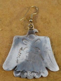 Old Style Navajo Sterling Silver Stamped Thunderbird Earring