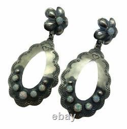 Old Style Navajo Sterling Silver White Opal Post Earrings Tim Yazzie