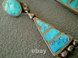 Old Zuni Native American Turquoise Inlay Sterling Silver Screw Back Earrings
