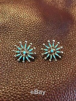 PRICE DROPVintage Zuni Petit Point Turquoise Sterling Earrings