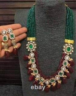 Pakistani Indian Gold Plated Long Kundan CZ Necklace Earring Fashion Jewelry Set