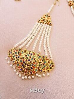 Pakistani Indian Gold Plated Pearls Meena Jewellery Set with big Jhumka Earrings