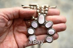 Pink Abalone Mother Pearl Vintage Squash Blossom Sterling Necklace Earrings